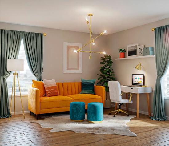 Propuestas para combinar suelos de madera con los colores en una reforma de hogar.